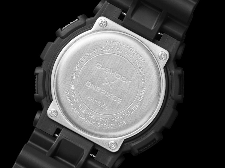 海賊王GA-110JOP腕表的表背有「G-SHOCK x ONE PIECE」字...