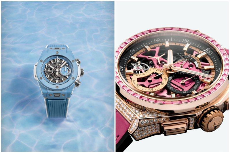 (左)HUBLOT Big Bang Unico 45毫米天空藍陶瓷腕表,66萬8,000元,限量100只。圖/宇舶表提供(右)ZENITH DEFY EL PRIMERO 21 44毫米玫瑰金鑲鑽粉紅腕表,208萬5,500元。圖/真力時提供