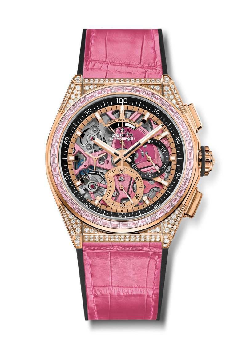 ZENITH DEFY EL PRIMERO 21 44毫米玫瑰金鑲鑽粉紅腕表,208萬5,500元。圖/真力時提供
