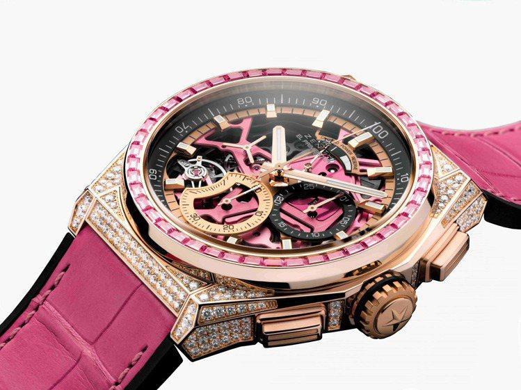 ZENITH DEFY EL PRIMERO 21 44毫米玫瑰金鑲鑽粉紅腕表,...