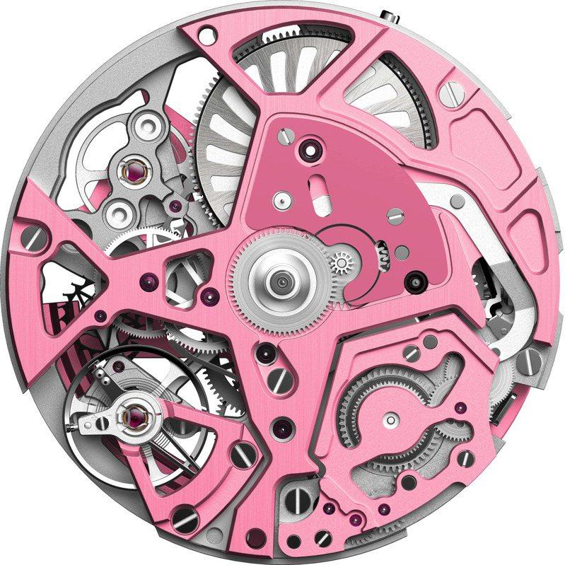 真力時DEFY EL PRIMERO 21粉紅腕表機芯夾板。圖/真力時提供