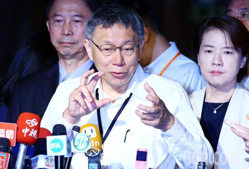 台北、上海雙城論壇今天登場,台北市長柯文哲受訪提到,他不贊成用意識形態升高兩岸人民之間的仇恨、緊張,藉此獲得個人及政黨在選舉上的利益。記者杜建重/攝影