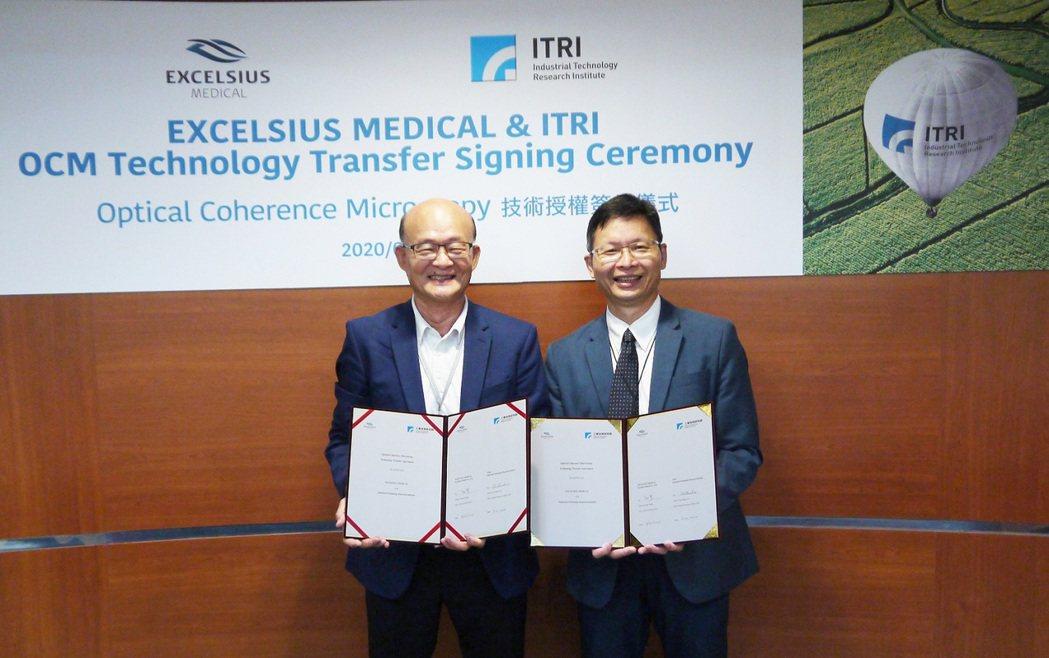 艾克夏總經理黃承好(左)與工研院生醫醫材研究所長林啟萬(右)簽署雙方合作授權,共...