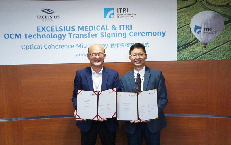 艾克夏總經理黃承好(左)與工研院生醫醫材研究所長林啟萬(右)簽署雙方合作授權,共同攜手研發新眼科手術技術。圖/工研院提供
