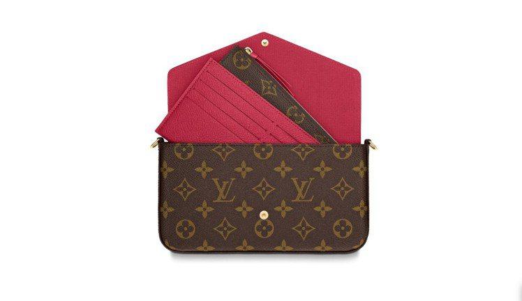 內裡還有可拆式拉鏈口袋、配有8個信用卡夾層的可拆式貼袋,當然金屬鍊帶也是可拆式的...