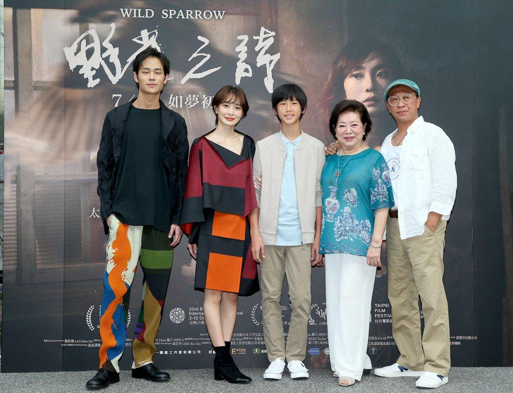 演員夏騰宏(左起)、李亦捷、童星高於夏、陳淑芳、游安順出席「野雀之詩」記者會。記