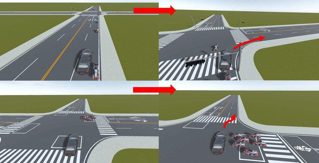 自駕車上路多在封閉場地執行測試,因此用虛擬平台輔助測試更能模擬路況情境。 景翊科...