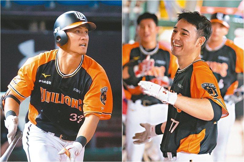 蘇智傑(左)與林安可(右)有機會挑戰史上單隊第二對「單季30轟」打者。 圖/聯合報系資料照片