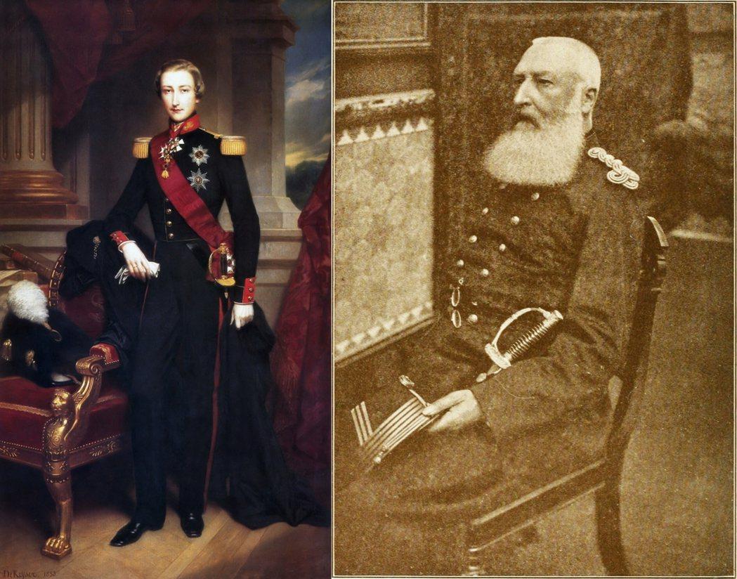 圖左為利奧波德二世年輕時的模樣;圖右則為國王留給後世的普羅形象——大鬍子、大鼻子...