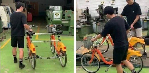 (左) 兩台腳踏車平行測試    (右) 單邊腳踏車上坡測試圖二十四 測試過...