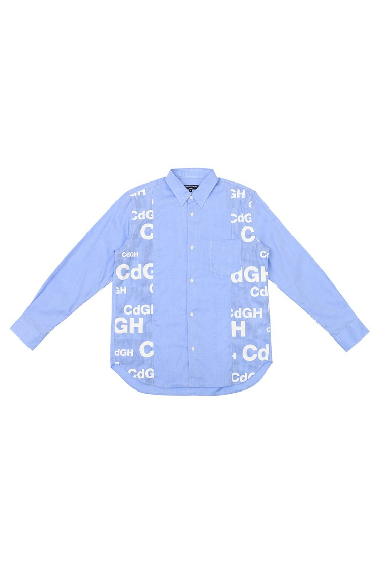 Comme des Garçons Homme藍色拼接LOGO襯衫,17,200...