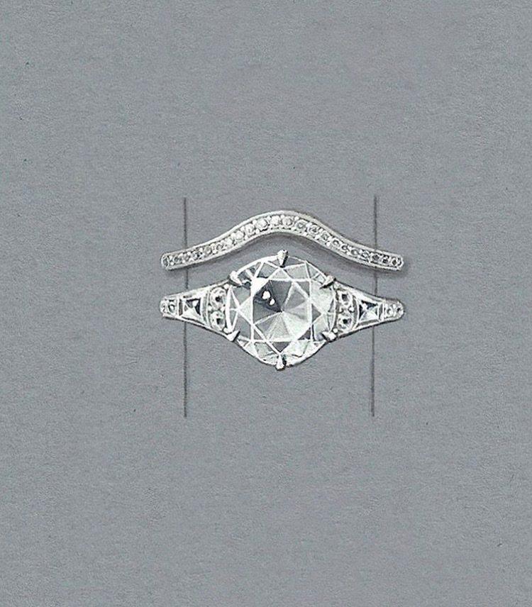 由英國知名設計師Shaun Leane訂製的婚戒設計圖。圖/取自IG @shau...