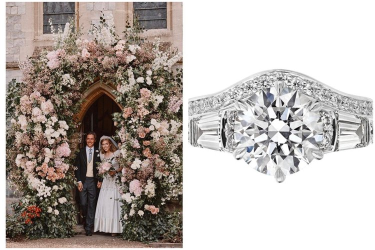 (左)英國王室發布碧翠絲公主婚禮照片。圖/取自IG @theroyalfamil...