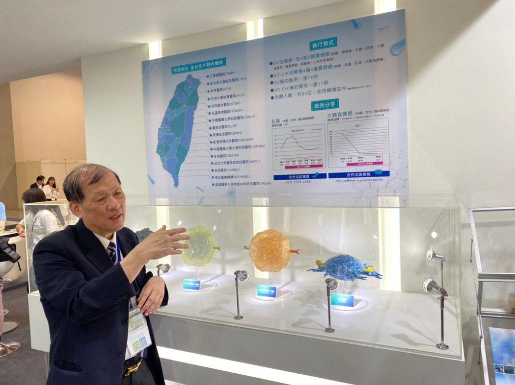 中國醫藥大學附設醫院院長周德陽解釋細胞治療擊殺癌細胞的原理。張羽萱/攝影