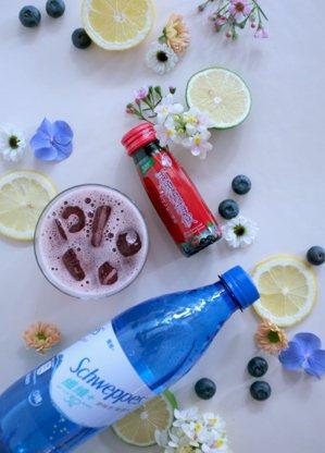 運用活顏馥莓飲、養蔘飲或金盞花葉黃素精華飲,搭配氣泡水特調馬卡龍色系飲品。 圖/...