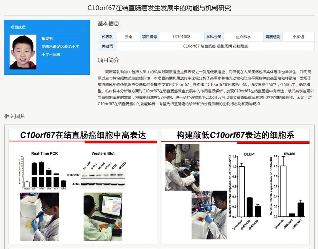 雲南昆明的小六學生陳靈石,以一份名爲《C10orf67在結直腸癌發生發展中的功能...