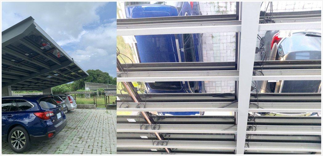 使用ROVAL冷鍍鋅防鏽塗料3年多的沅碁光電太陽能停車棚,依舊如新。莊智強/攝影