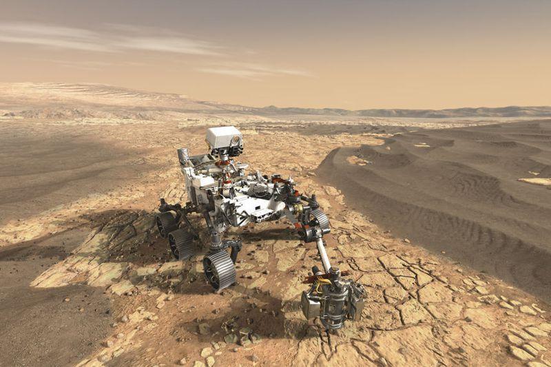 美國太空總署今年3月發布的毅力號火星探測車示意圖。法新社