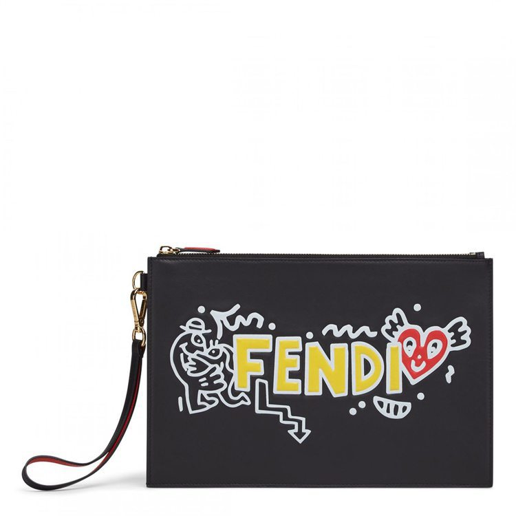 FENDI X Mr. Doodle手拿包,34,900元。圖/FENDI提供