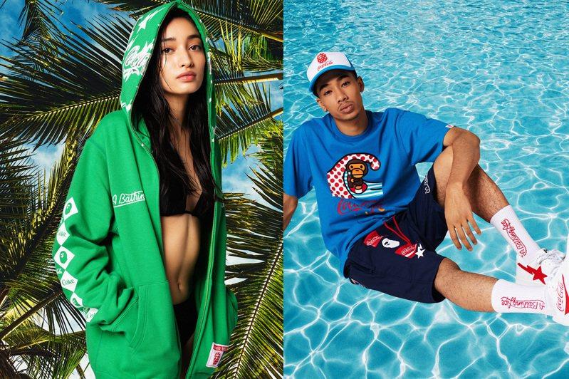 Bape繼今年5月推出聯名款鋁瓶裝可樂引發話題後,將在本周上市讓雙方品牌支持者期待已久的服飾系列。圖/i.t提供