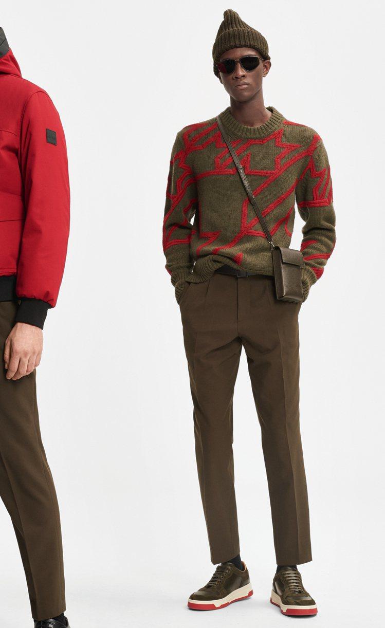 抽象的彩色幾何圖形與毛衣,在變化中卻不花俏、經典,展現德國時裝品牌的另類活力。圖...