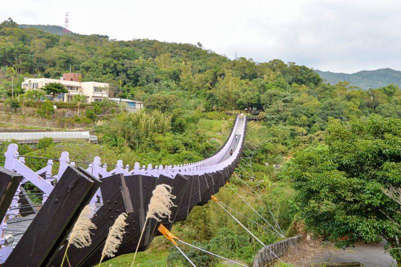 為進行橋梁檢測,台北市內湖區白石湖吊橋將於8月3日起封閉至8月31日止。圖/大地處提供