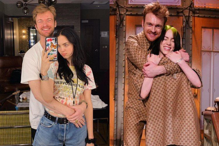 左邊是FINNEAS與Claudia Sulewski合照,右邊為怪奇比莉跟哥哥...