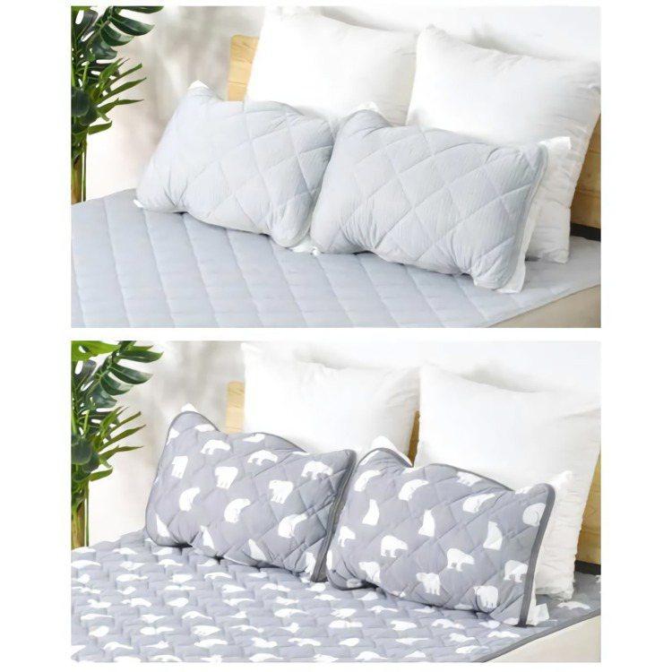 換上全套涼感寢具,夏季整夜好眠又能節省電費,圖為LIFE365冰絲涼感枕頭套。圖...