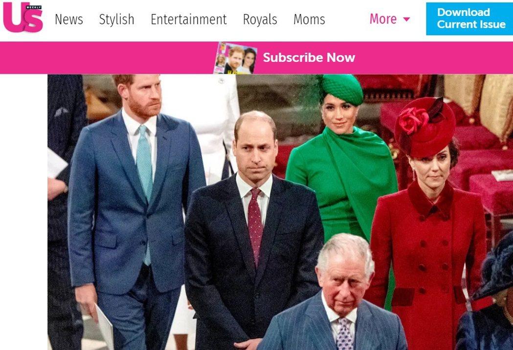 威廉(中排左 )、凱特(中排右)被稱在這場皇室公開活動上將梅根(後排右)當空氣,...