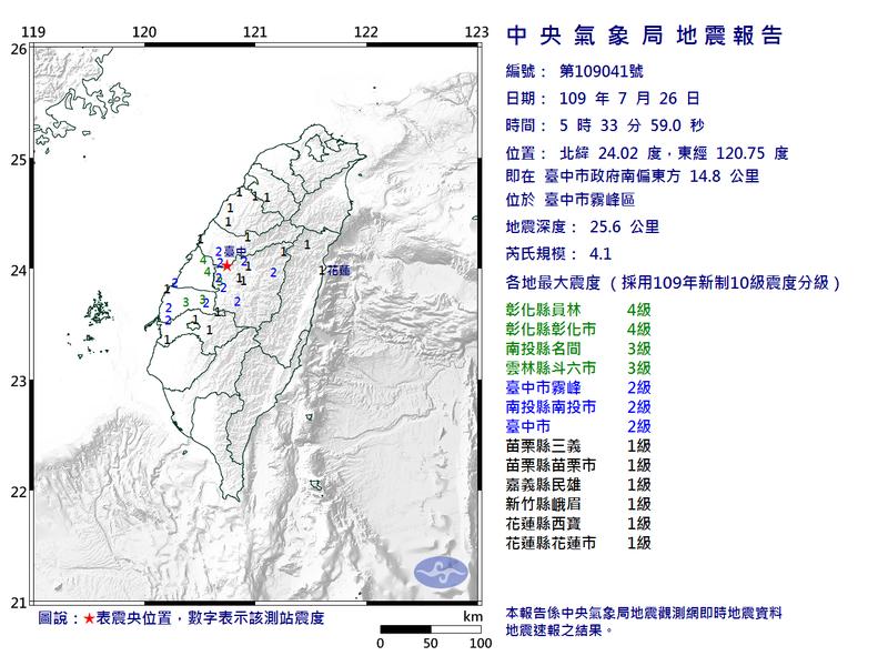 中央氣象局發布第41號顯著有感地震報告。圖/氣象局提供