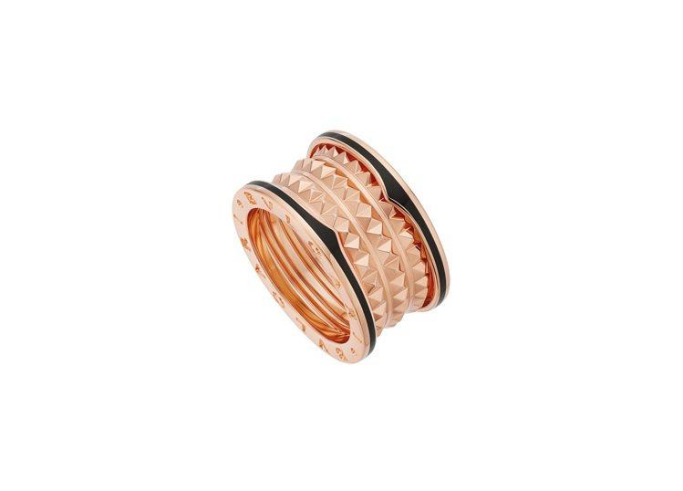 BVLGARI B.zero1 Rock系列玫瑰金黑陶瓷四環戒指,74,800元...