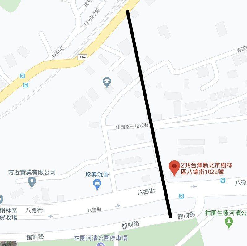 山佳四號道路(黑線)將延伸八德街1022號旁道路,銜接中山路至堤外便道。圖/截取自Google map