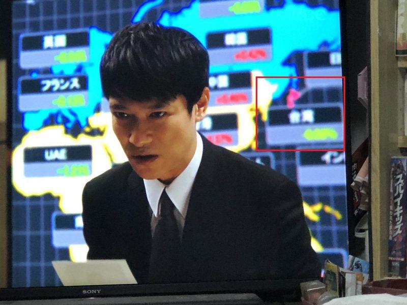 《半澤》播出第二集,原本半澤後方秀出各國股市的大螢幕,台灣的青天白日滿地紅國旗已經消失。圖取自PTT