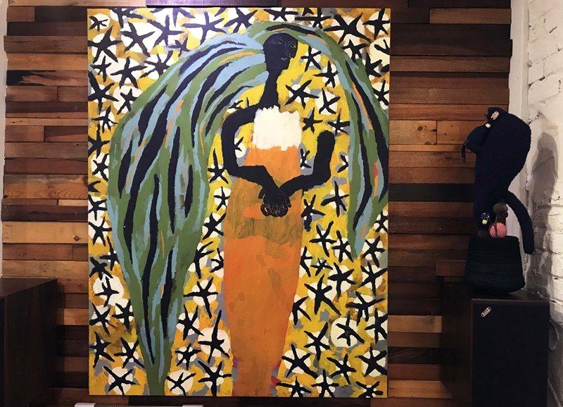 阿尼默在捷克留學期間創作該系列的第一幅畫,也是這次展覽最大的一幅作品。 圖/作者提供