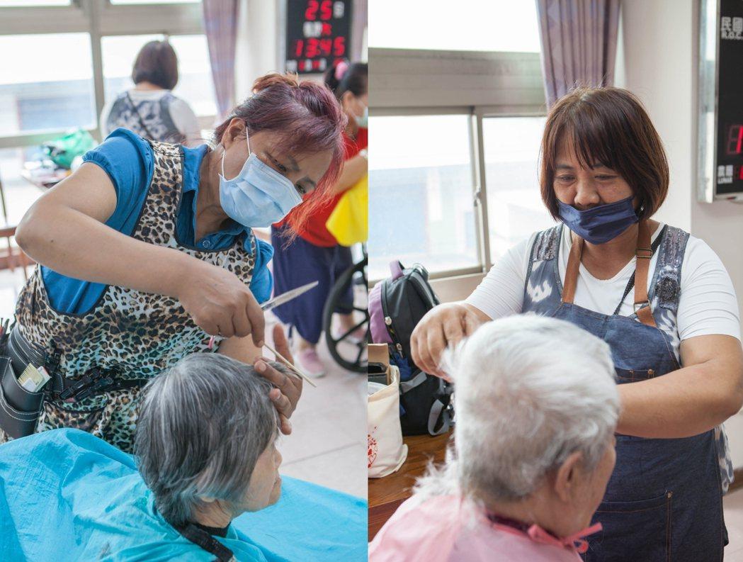 左為在台東開家庭式理髮店的學員葉秀惠,右為牧師娘陳美香。輔英/提供。