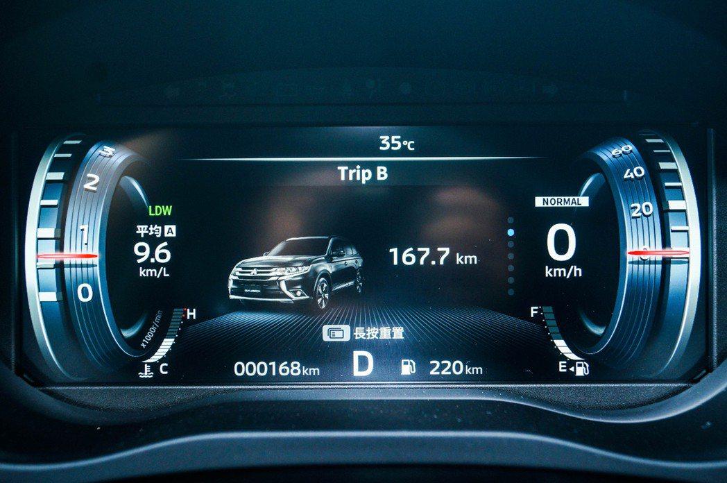 即時油耗與里程紀錄都能在數位儀表中顯示。 記者趙駿宏/攝影