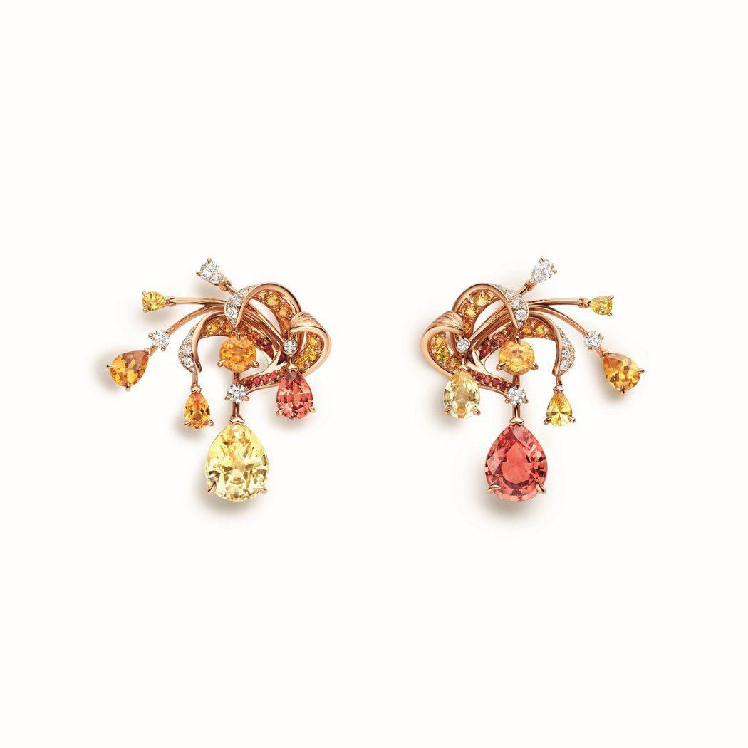 CHAUMET Soleil de Feu 18K白金和18K玫瑰金耳環,價格店...