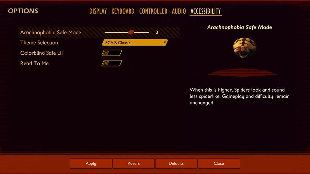 玩家可以更改遊戲內的蜘蛛模組,防止其外觀引起不適