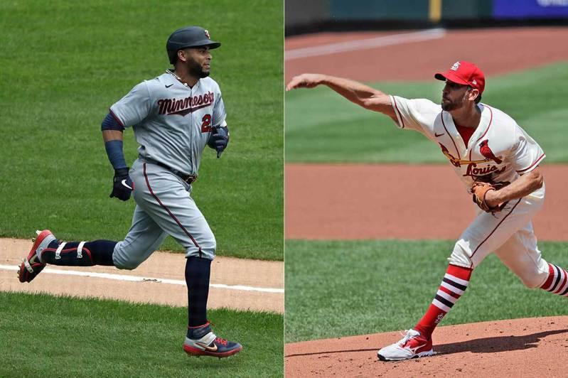 紅雀先發投手韋恩萊特(右)本季已經38歲,這是他在大聯盟的第15個球季,開季首戰就拿下勝投。雙城指定打擊克魯茲(左)則已經40歲了,他的第16個球季在前3戰就打出3支全壘打、10分打點。 美聯社