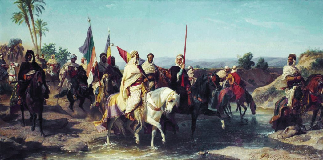 反抗軍首領布巴拉(Cherif Boubeghla,中間騎白馬者)少數留存的畫像...