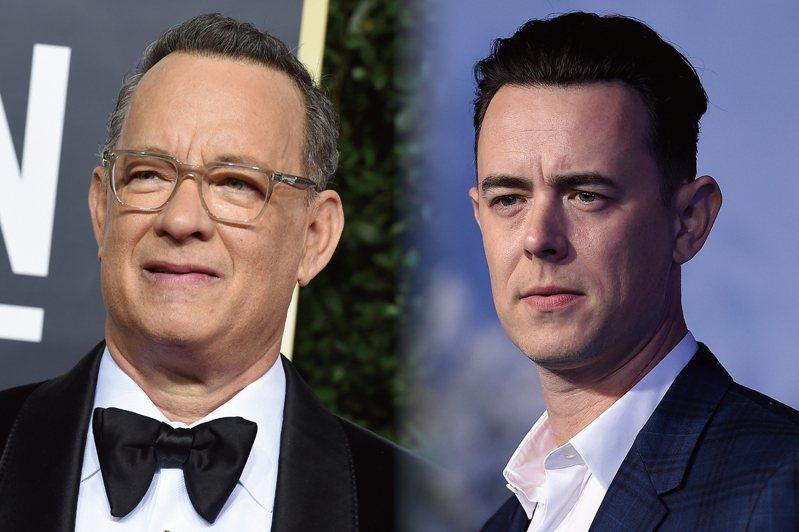 父親湯姆漢克斯(左)染新冠肺炎康復後,演員柯林漢克斯(右)呼籲民眾戴口罩。美聯社