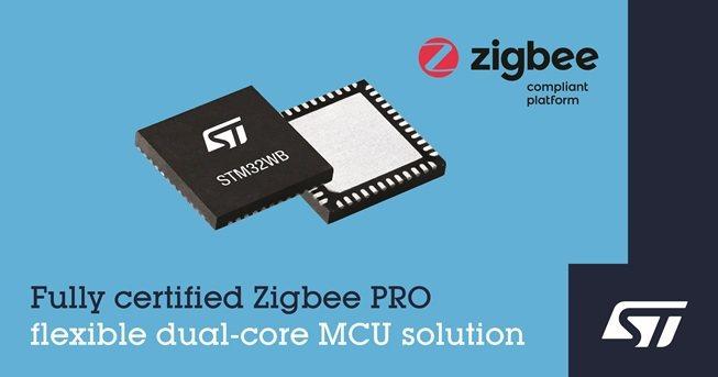 意法半導體STM32WB無線微控制器現可支援Zigbee 3.0。 意法半導體/...