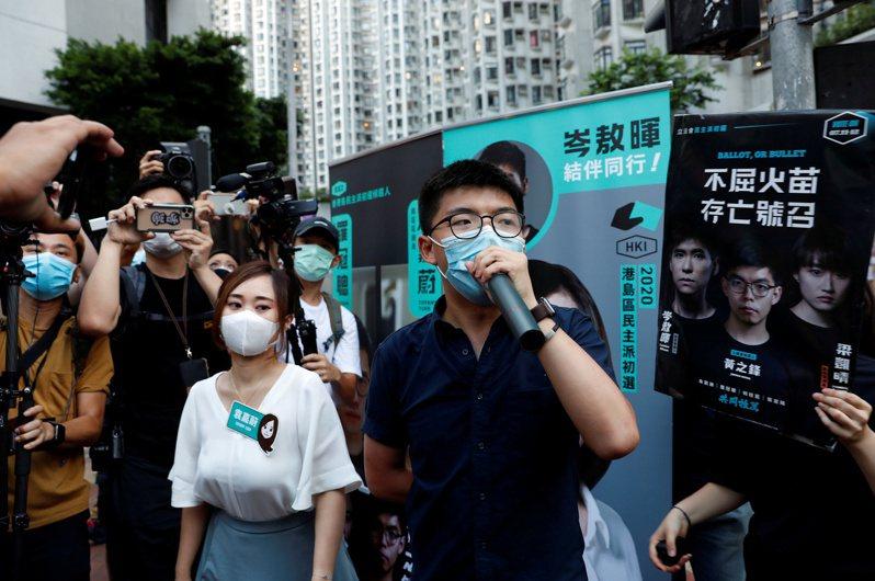 前香港眾志秘書長黃之鋒昨天表示無意推動「民主自決」。 路透
