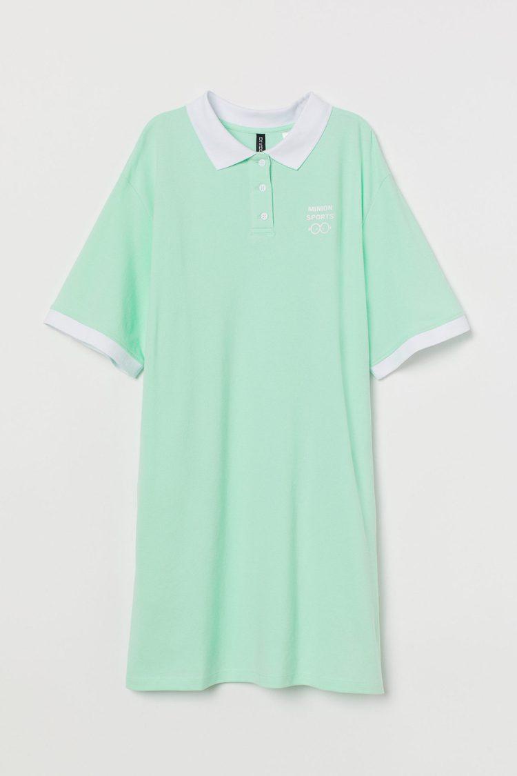 H&M亞洲時尚小小兵聯名系列長版POLO衫699元。圖/H&M提供