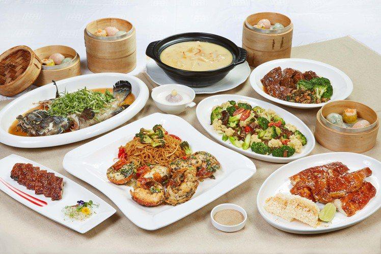 台北國賓粵菜廳六人套餐內含「和牛臉頰」與「松露龍蝦細麵」等山珍海味。圖/台北國賓...