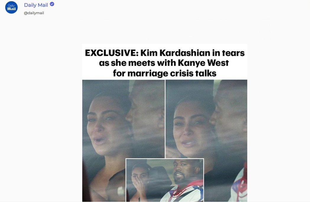 金卡戴珊被拍到與肯伊威斯特坐在車內,臉上卻是淚痕。圖/摘自Instagram