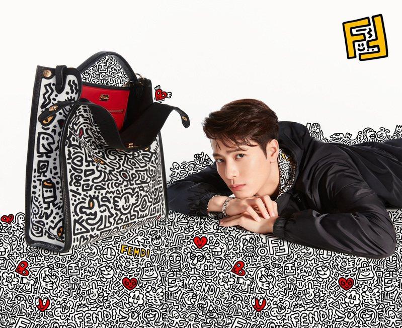 王嘉爾拍攝FENDI x Mr. Doodle系列形象片。圖/FENDI提供
