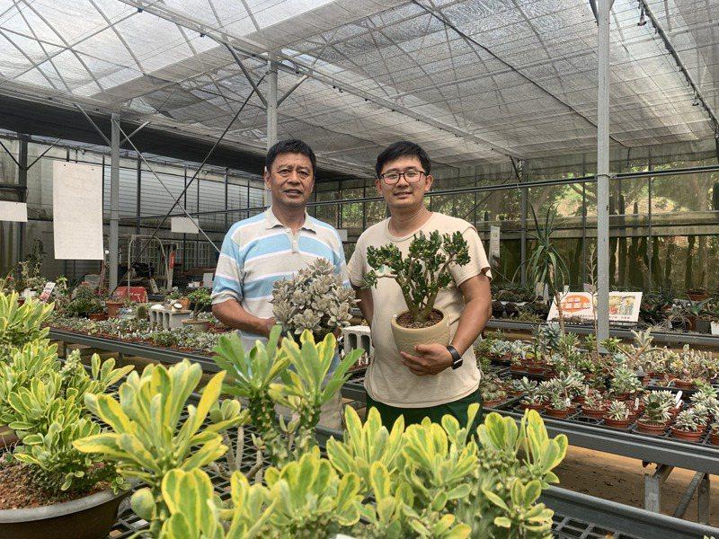 福祥仙人掌創辦人嚴永祥(左)與兒子嚴國維(右)經營北台灣最大的多肉植物園,園區內8000多種多肉品種是他們的驕傲。記者巫鴻瑋/攝影