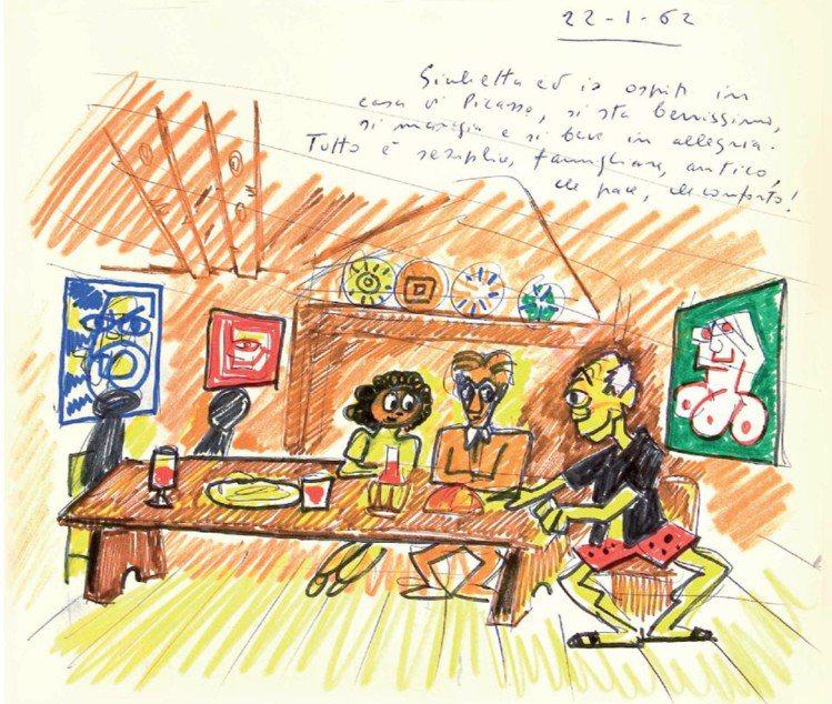 費里尼的美味人生插畫《夢之書》夢境手稿。圖/台北美福大飯店提供