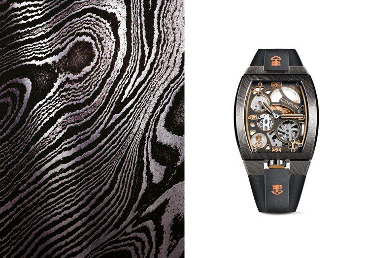 現場同時陳列有LAB 01系列腕表,酒桶型表殼再以大馬士革鋼打造,展現強烈實驗意...